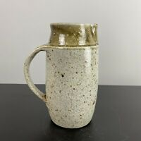 Vintage MCM Stoneware Pottery Speckled Beige Glazed Jug Pot Planter Cottagecore