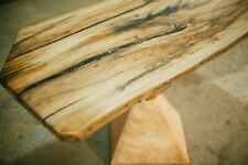 COPPER AND GOLD BASE OLD OAK COFFEE TABLE
