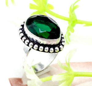 925 Sterling Silver Handmade  Chrome Diopside Gemstone Jewelry Ring (US) Size- 7