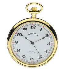 Mount Royal Gold Plated Open Face Pocket Watch, Swiss Quartz Movement, ref B1