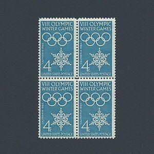 1960 Winter Olympics - 61 Year Old Vintage Mint Set of 4 Stamps L@@K!