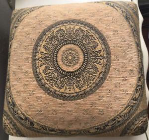 "Carpe Diem Tapestry Low Foot Stool 12 X 12 X 4.5"" H Grey & Tan Wood Legs"