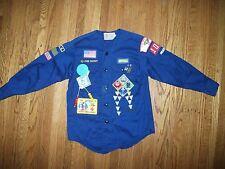 "Vintage 1980s Webelos Boy Scouts Shirt w Patches & Pins 34"" Chest Toledo OH c"