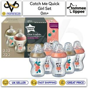 Tommee Tippee Catch Me Quick Baby Girl Set 6 x 260ml Anti-Colic BPA-Free