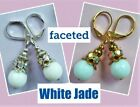 faceted WHITE JADE AB Crystal drop earrings handcrafted CHOOSE XX