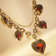 Women's Angel Wing Pendant Ruby Crystal Heart Leather Chain Sweater Necklace