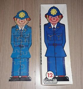 Vintage Michael Stanfield Wooden Jigsaw Puzzle Policeman 12 Piece Puzzle