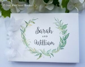 PERSONALISED WEDDING GUEST BOOK - FOLIAGE WREATH RUSTIC ANNIVERSARY - ENGAGEMENT