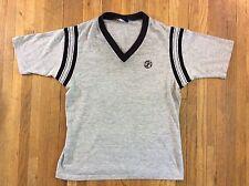 Vintage 80s Runner Up by Argo V neck Ringer Shirt T-shirt Plain Gray Black LG