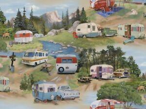 Vintage Trailers Fabric - Lakeside RV Camping Green - Elizabeth's Studio YARD