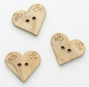 Natural Wooden Heart Buttons (Quantity-3)
