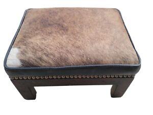 Genuine cowhide & leather Studded footstool