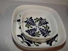 (2) Royal Copenhagen Wisteria Fajance Square Bowls Hand Painted Signed Vintage