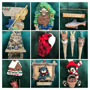 ASSORTED CHRISTMAS ORNAMENTS - HUNTING, FISHING, CAMPING,WILDLIFE - YOU CHOOSE!