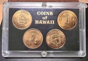 1960s-70s Coins of Hawaii Aloha 4 Token Medal Set - In Original Display Holder