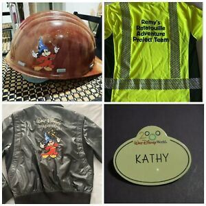 rare disney imagineer hard hat/Ratatouille Ride Construction Team Polo/name Tag