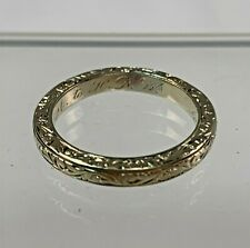 Antique Hand Engraved 14k Yellow Gold Band Ring w/ Inscription, 1917 Size 7