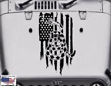 American Flag DON'T TREAD ON ME Rattlesnake Hood vinyl Decal (Fits Jeep Wrangler