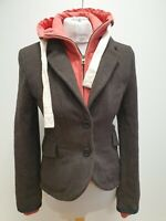 R978 WOMENS SUPERDRY BROWN BUTTONED HOODED JACKET UK S 8 EU 36