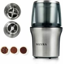 Secura Electric Coffee Grinder and Spice Grinder with 2 Stainless Steel Blades