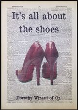 Wizard Of Oz Red Shoes Stilettos Quote Vintage Dictionary Page Print Wall Art