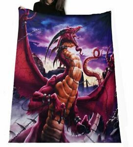 Wild Star - UNLEASHED RED DRAGON - Fleece Blanket / Throw / Tapestry