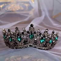 Baroque Green Crystal Black Tiaras Vintage Wedding Bridal Hair Accessories Crown
