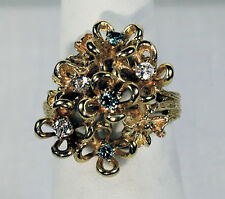 """Unusual Blue&White Diamond """"Bouquet of Flowers"""" 14k Yellow Gold Ring, Size 6 ½"""