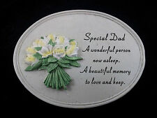 Grave ornament memorial SPECIAL DAD oval plaque White yellow flowers New