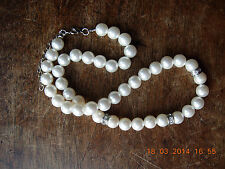 Really nice fake pearls with fake inset diamonds 19 inches plus extension