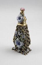 9987096 Parfüm-Flasche Glas Flakon Messing farbig emailliert Blume