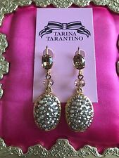 Tarina Tarantino Vintage Gold Topaz Champagne Silver Crystal Earrings SPARKLY