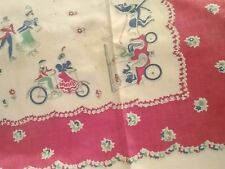 Vintage Printed Tablecloth - Red,Blue,Whit Old Time BICYCLES, HORSE CARRAGE, Etc