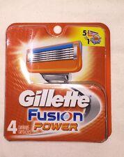 4 Gillette Fusion POWER Razor Blades NEW 4 CARTRIDGE PACK 100% AUTHENTIC,GENUINE