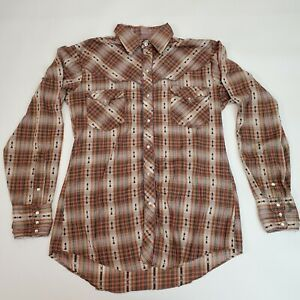 Vintage Kenny Rogers Collection Karman Plaid Pearl Snap Western Shirt Size Med
