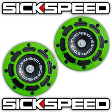 2PC LIME GREEN SUPER LOUD COMPACT ELECTRIC BLAST TONE HORN CAR/TRUCK/SUV 12V P24