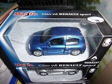 MAISTO 1/36 RENAULT SPORT CLIO V6 BLEUE BLUE MOTORIZED NEUF EN BOITE
