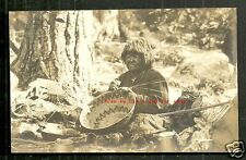Indian Woman rppc Basket Weaver California ca 1920