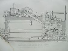 ANTIQUE PRINT 1854 MACINDOE'S SELF ACTING MULE ENGRAVING DIAGRAM PLATE 1 ETCHING