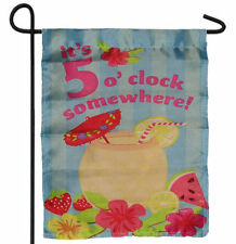 "IT'S 5 O'CLOCK SOMEWHERE DRINK GARDEN BANNER/FLAG 12""X18"" SLEEVED POLY"