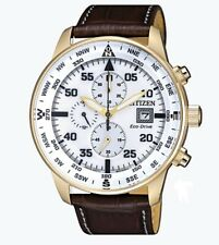 Citizen Eco-Drive Men's CA0693-04A Chronograph Brown Leather Strap 44mm Watch