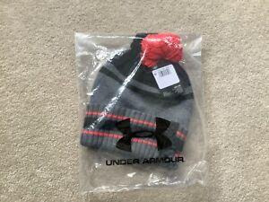 Under Armour Grey/Black Pom Beanie Golf Hat New
