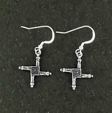 St. Brigid's Cross Earrings Sterling Silver Religious Symbol