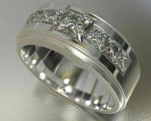 14K White Gold Channel Set Engagement Wedding Unique Men's Ring 2.09 Ct Diamond