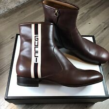 Gucci Mens Stripe Leather Boots Brown Cloud Calf Leather 5232890F340 Size 10 New