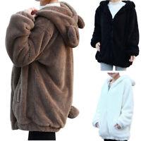 Women Thicken Fleece Fur Warm Winter Coat Hooded Jacket Outwear Parka Overcoat