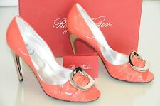 New Roger Vivier Patent Spuntata GIGI Coral Orange Silver Buckle Shoes 40 9.5
