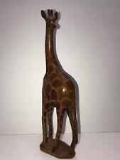 Hand Carved Teakwood Giraffe 11 7/8 inch Tall