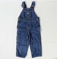 OSHKOSH Toddler Size 3T Plaid Flannel Lined Vest Back Denim Bib Overalls
