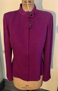 Classic St John Collection Wool/rayon Knit Zip Front Cardigan Jacket US 12